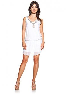 Laura Moretti - Seidenkleid Farbe Weiß mit V-Ausschnitt, Stickerei und Pailletten -