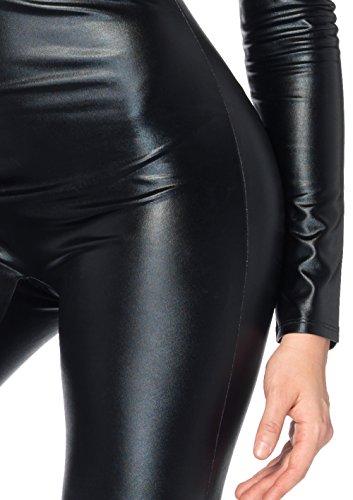LEG AVENUE 85047 - Wet Look Catsuit Kostüm, Größe S (EUR 34-36), Schwarz, Dessous Damen Reizwäsche - 2