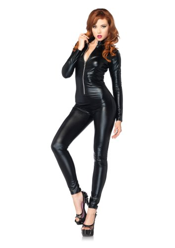 LEG AVENUE 85047 - Wet Look Catsuit Kostüm, Größe S (EUR 34-36), Schwarz, Dessous Damen Reizwäsche - 1