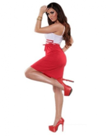Leichtes Träger Kleid Minikleid Cocktailkleid Abendkleid Gürtel Sommer rot (Gr. 34-36) - 3