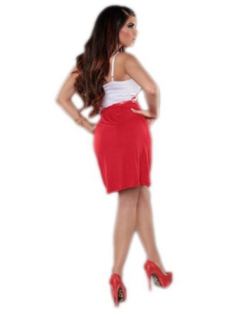 Leichtes Träger Kleid Minikleid Cocktailkleid Abendkleid Gürtel Sommer rot (Gr. 34-36) - 4