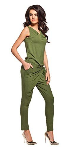 Lemoniade stylischer Jumpsuit ohne Ärmel mit elegantem Wasserfallkragen, khaki, Gr. S - 1