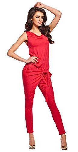 Lemoniade stylischer Jumpsuit ohne Ärmel mit elegantem Wasserfallkragen, rot, Gr. L - 1