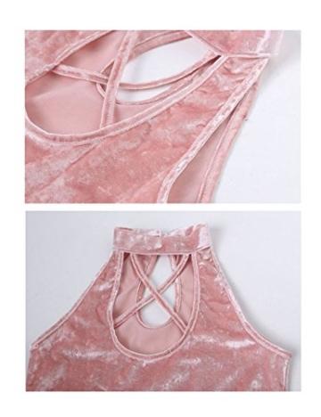 Letuwj Damen Samtkleid Bandage Beiläufiges Partykleider Abendkleider Wickelkleider Bodycon MiniKleid Rosa Aisa L(EU M) - 2