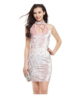 Letuwj Damen Samtkleid Bandage Beiläufiges Partykleider Abendkleider Wickelkleider Bodycon MiniKleid Rosa Aisa L(EU M) - 1