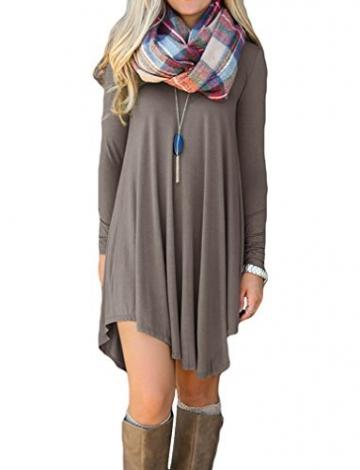 LILBETTER Frauen Langarm-V-Ausschnitt-beiläufige lose T-Shirt-Kleid (Braun S) -