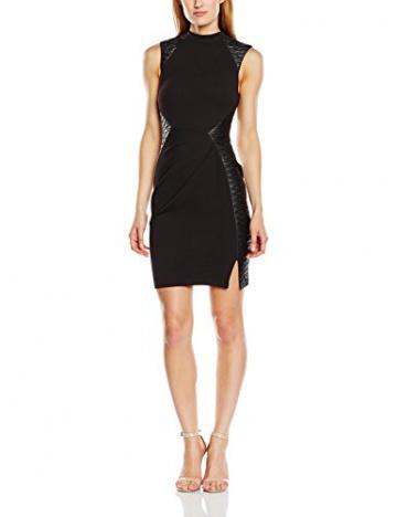 Lipsy Damen Schlauch Kleid BLACK PU PNL SHFT, Knielang, Gr. 40 (Herstellergröße: Size 14), Schwarz - 1