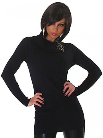 Lmode Damen Strickkleid & Pullover einfarbig mit Rollkragen Einheitsgröße (32-38), schwarz - 2