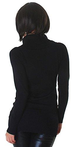 Lmode Damen Strickkleid & Pullover einfarbig mit Rollkragen Einheitsgröße (32-38), schwarz - 3