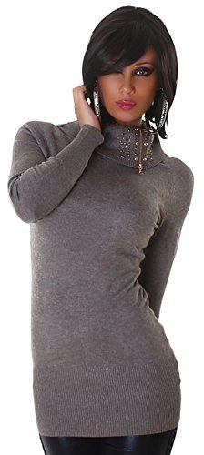 Lmode Damen Strickkleid & Pullover einfarbig mit Rollkragen Einheitsgröße (32-38), hellbraun -