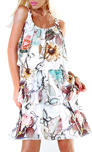 Long Tunika Midi-Kleid im Volant-Style mit Blüten-Träger S/M - 1