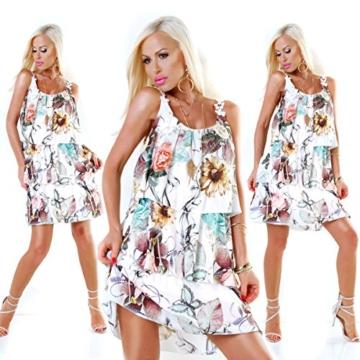 Long Tunika Midi-Kleid im Volant-Style mit Blüten-Träger S/M - 2