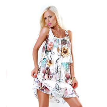 Long Tunika Midi-Kleid im Volant-Style mit Blüten-Träger S/M - 3