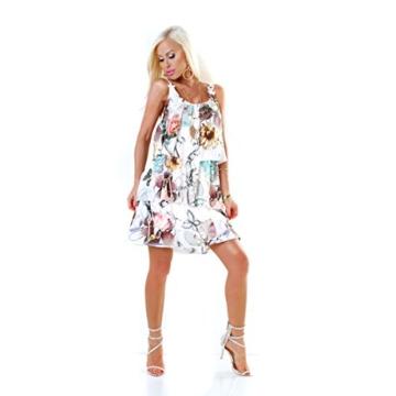 Long Tunika Midi-Kleid im Volant-Style mit Blüten-Träger S/M - 4
