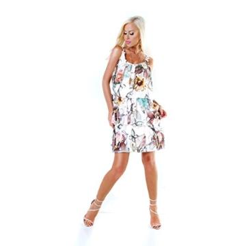 Long Tunika Midi-Kleid im Volant-Style mit Blüten-Träger S/M - 5