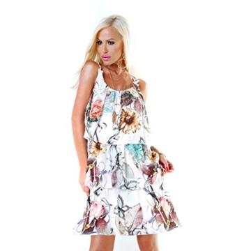 Long Tunika Midi-Kleid im Volant-Style mit Blüten-Träger S/M - 6