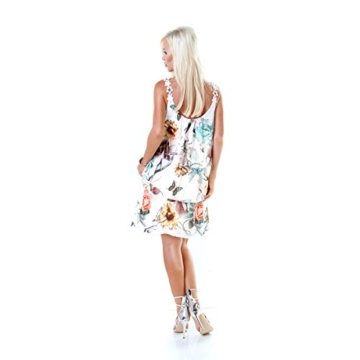 Long Tunika Midi-Kleid im Volant-Style mit Blüten-Träger S/M - 7