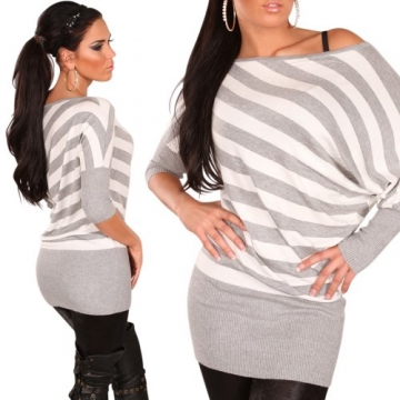 Longpulli Pullover gestreift Streifen asymmetrisch Einheitsgröße 36,38,40,42 - Grau - 2