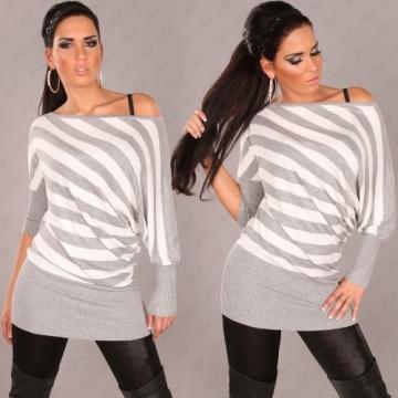 Longpulli Pullover gestreift Streifen asymmetrisch Einheitsgröße 36,38,40,42 - Grau - 3