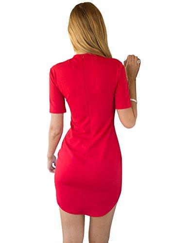 LookbookStore Damen Rotes K?rperbetontes Kleid mit Halben ?rmeln Einfarbig EU 36 -