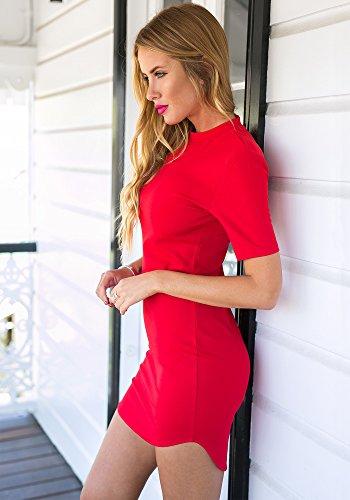 LookbookStore Damen Rotes K?rperbetontes Kleid mit Halben ?rmeln Einfarbig EU 40 -