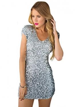 LookbookStore Damen Silberfarbenes Figurbetontes Minikleid mit Silber Pailletten Bodycon Abendkleid Cocktailkleid EU 36 - 1