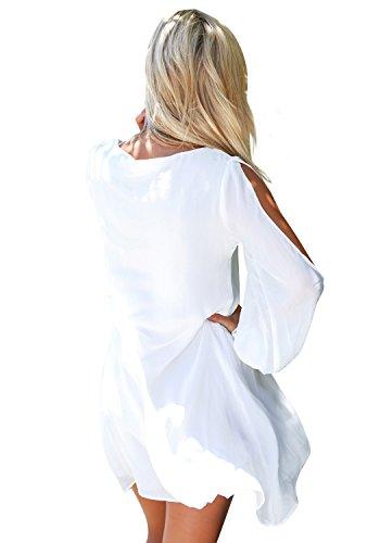 LookbookStore Damen Weiß MiniKleid Langärm Chiffon Cutout Puffärmel EU 38 - 2
