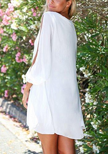 LookbookStore Damen Weiß MiniKleid Langärm Chiffon Cutout Puffärmel EU 38 - 4