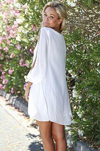 LookbookStore Damen Weiß MiniKleid Langärm Chiffon Cutout Puffärmel EU 38 - 6