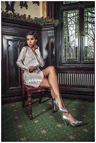 Loomiloo Silvester Kleid Damen Party Dress festlich Glitzer Lurex Minikleid Midikleid tailliert Wickeloptik Abendkleid Elegant- Gr. 40 (L, Etikettgröße: 14), Weißgold - 2