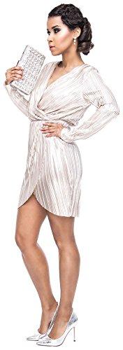 Loomiloo Silvester Kleid Damen Party Dress festlich Glitzer Lurex Minikleid Midikleid tailliert Wickeloptik Abendkleid Elegant- Gr. 40 (L, Etikettgröße: 14), Weißgold - 3