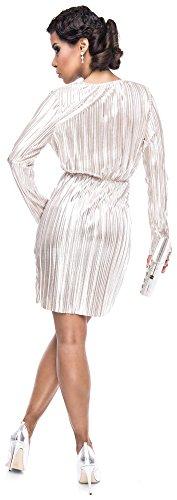Loomiloo Silvester Kleid Damen Party Dress festlich Glitzer Lurex Minikleid Midikleid tailliert Wickeloptik Abendkleid Elegant- Gr. 40 (L, Etikettgröße: 14), Weißgold - 4