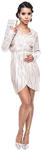 Loomiloo Silvester Kleid Damen Party Dress festlich Glitzer Lurex Minikleid Midikleid tailliert Wickeloptik Abendkleid Elegant- Gr. 40 (L, Etikettgröße: 14), Weißgold - 1