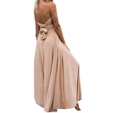 Lover-Beauty Kleider Damen V-Ausschnitt Rückenfrei Neckholder Abendkleider Elegant Cocktailkleid Multi-Way Maxikleid Lang Chiffon Party Kleid - 2