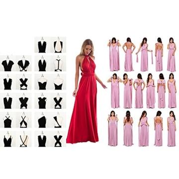 Lover-Beauty Kleider Damen V-Ausschnitt Rückenfrei Neckholder Abendkleider Elegant Cocktailkleid Multi-Way Maxikleid Lang Chiffon Party Kleid - 3