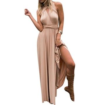 Lover-Beauty Kleider Damen V-Ausschnitt Rückenfrei Neckholder Abendkleider Elegant Cocktailkleid Multi-Way Maxikleid Lang Chiffon Party Kleid - 1