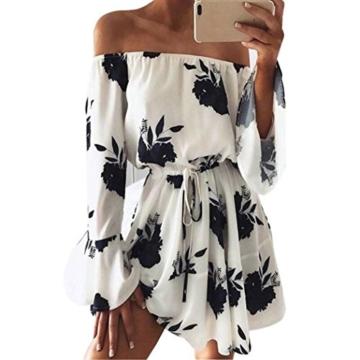 LSAltd Damen Kleid Frauen Blumen Gedruckt von Schulter Lange Ärmel Beach Party Kleid mit Gürtel (Schwarz, M) - 1