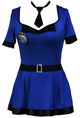 Lukis Damen Flugbegleiterin Kostüm Party Karneval Flugkapitän (Blau) - 1