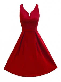 LUOUSE 50er Retro Audrey Hepburn Schwingen Pinup Rockabilly Kleid,Red,S -