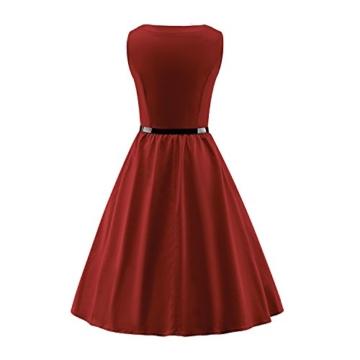 LUOUSE Damen 1950 50er Vintage Rockabilly Party Kleider Abendkleider Cocktailkleid mit Versteckten Taschen,winered,XXXL - 2