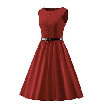 LUOUSE Damen 1950 50er Vintage Rockabilly Party Kleider Abendkleider Cocktailkleid mit Versteckten Taschen,winered,XXXL - 3