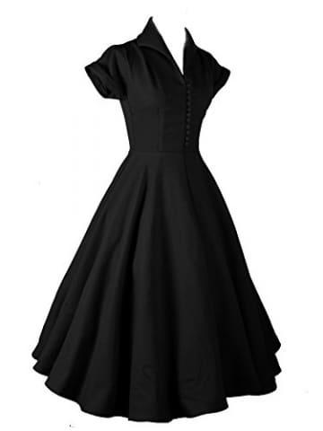 LUOUSE Damen 1950er Vintage Solid Color Plissiert Swing Kleid,Black,XXL -