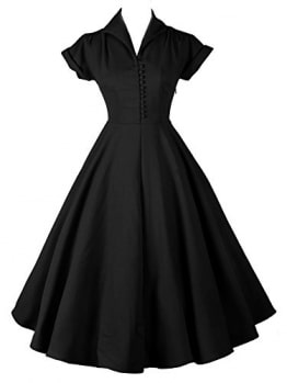 LUOUSE Damen 1950er Vintage Solid Color Plissiert Swing Kleid,Black,XXL -