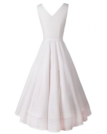 LUOUSE Damen Audrey Hepburn 50s Retro vintage Bubble Skirt Rockabilly Swing Evening kleid Dress,White,XL -