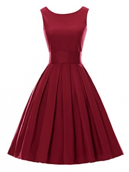 LUOUSE Sommer Damen Ohne Arm Kleid Dress Vintage kleid Junger abendkleid,WineRed,S -