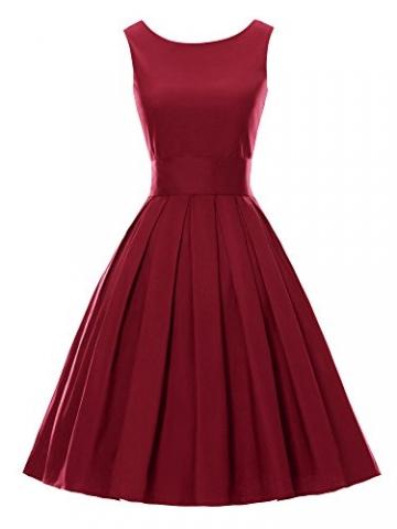 LUOUSE Sommer Damen Ohne Arm Kleid Dress Vintage kleid Junger abendkleid,WineRed,S -