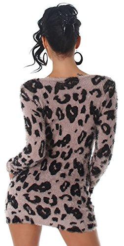Luxestar Damen Strickkleid & Pullover weich & flauschig, hellbraun Größe 34-38 -
