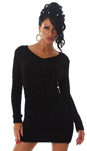 Luxestar Damen Strickkleid & Pullover weich & flauschig, schwarz Größe 32-38 -
