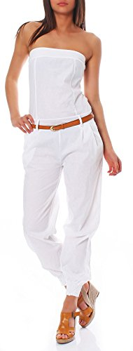 Malito Damen Einteiler in Uni Farben | Overall mit Gürtel | Langer Jumpsuit - Romper - Hosenanzug 1585 (weiß, L) - 1