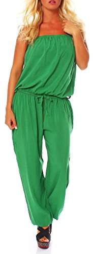 Malito Damen Einteiler in Uni Farben | Overall mit Stoffgürtel | Jumpsuit - Hosenanzug - Romper 4538 (grün) - 1